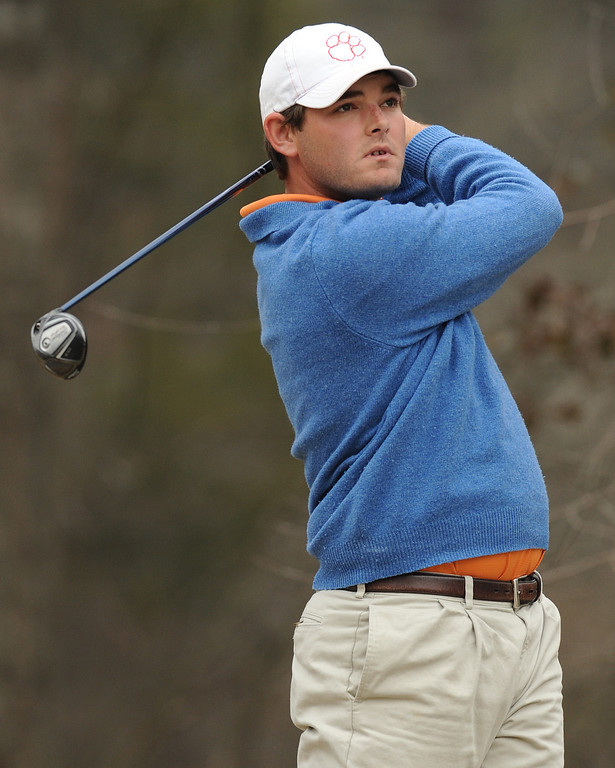 Clemson golfer McCuen Elmore practices at Cross Creek golf course in Seneca Friday, February 10, 2012. BART BOATWRIGHT/Staff