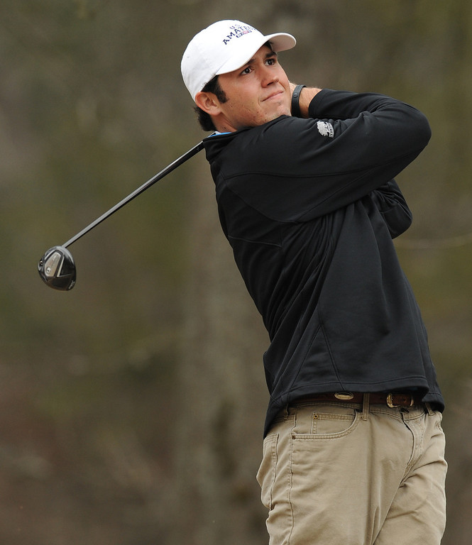 Clemson golfer Corbin Mills practices at Cross Creek golf course in Seneca Friday, February 10, 2012. BART BOATWRIGHT/Staff