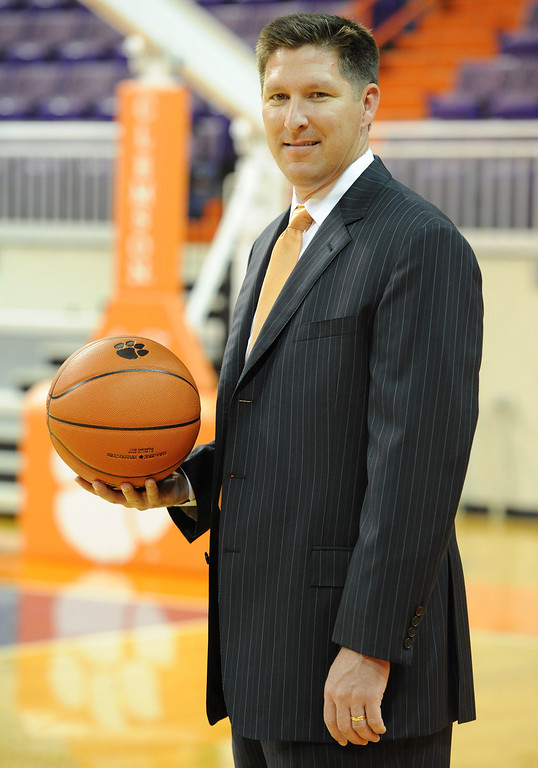 Clemson head coach Brad Brownell during the teams photo day Tuesday, October 12, 2010 at at Clemson's Littlejohn Coliseum.