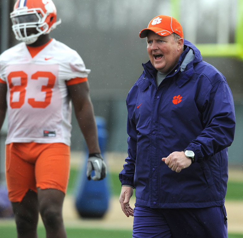 Clemson offensive line coach Robbie Caldwell during the first day of spring practice Friday, March 4, 2011. BART BOATWRIGHT/Staff