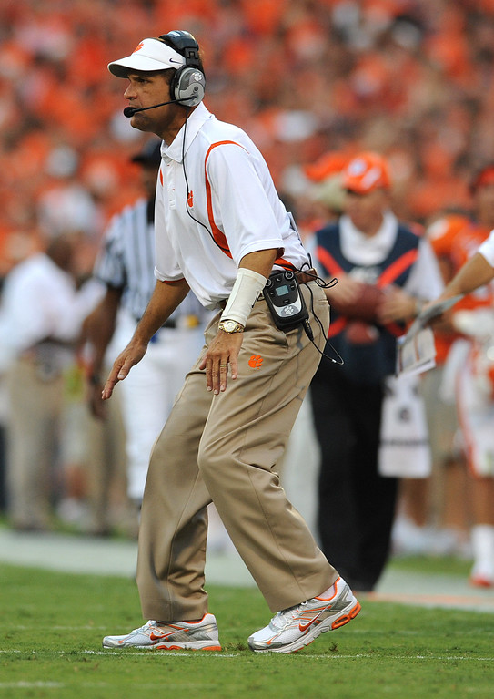 Clemson defensive coordinator Kevin Steele coaches against Middle Tennessee State during the 2nd quarter Saturday, September 5, 2009 at Clemson's Memorial Stadium.