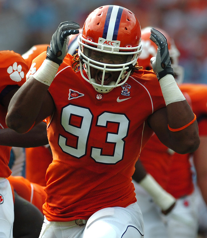 Clemson's Da'Quan Bowers (93) reacts after teammate Brandon Thompson (98) sacked The Citadel quarterback Bart Blanchard (19) during the 2nd quarter Saturday, September 6, 2008 at Clemson's Memorial Stadium.