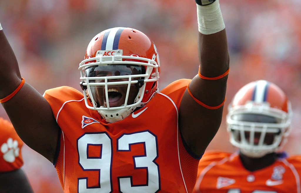 Clemson's Da'Quan Bowers (93) celebrates after his first carrier sack during the 3rd quarter as the Tigers play The Citadel Saturday, September 6, 2008 at Clemson's Memorial Stadium.