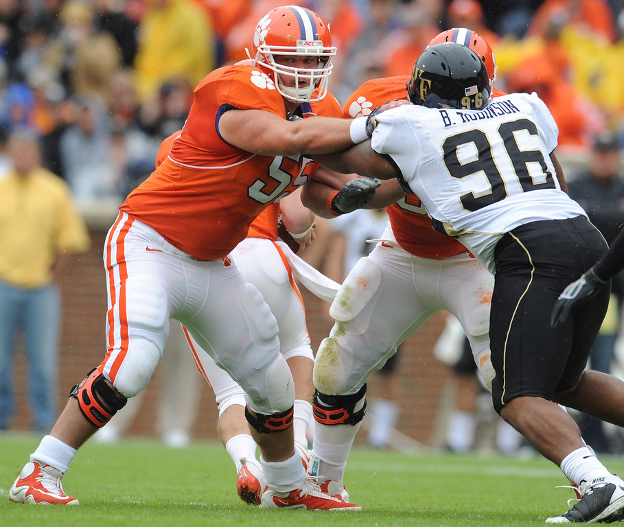 Clemson center Dalton Freeman (55) blocks Wake Forest defensive tackle Boo Robinson (96) during the 1st quarter Saturday, October 17, 2009 at Clemson's Memorial Stadium. Freeman got his first start as a Tiger Saturday.