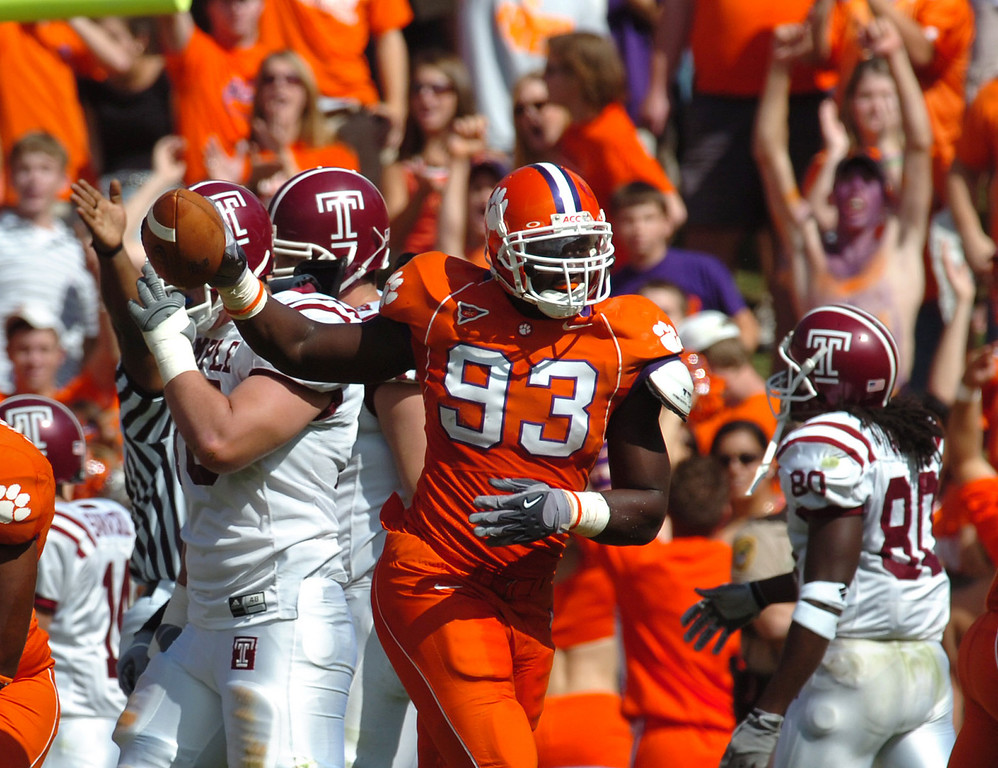 Clemson's Dorell Scott celebrates after coming up with a Temple nfumble with 11 seconds left in the 1st half Saturday October 22, 2005 at Clemson's Memorial Stadium.