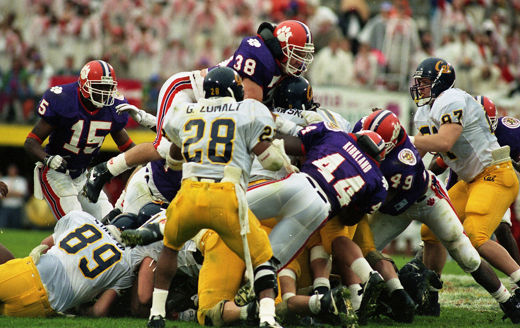 Clemson's defense stops California QB Mike Pawlawski in the Citrus Bowl on January 1, 1992 in Orlando, Fl. The Golden Bears defeated the Tigers 37-13.