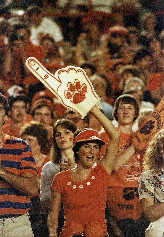 Clemson fans cheer as the Tigers played Nebraska in the Orange Bowl on January 1, 1982.