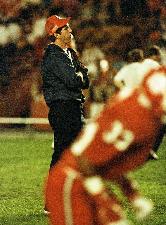 Clemson head coach Danny Ford before the Tigers played Nebraska in the Orange Bowl on January 1, 1982.
