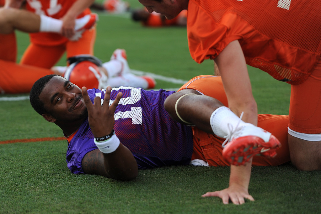 Clemson quarterback Tajh Boyd (10) during the teams first practice of the season Tuesday, August 4, 2010 at the teams practice field in Clemson.  BART BOATWRIGHT / Staff