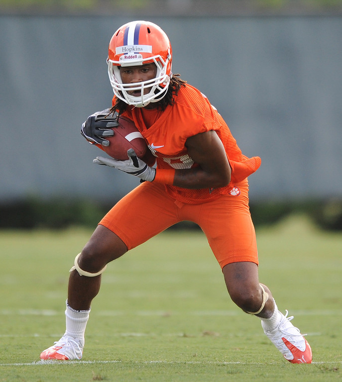 Clemson receiver DeAndre Hopkins (6) during the teams first practice of the season Tuesday, August 4, 2010 at the teams practice field in Clemson.  BART BOATWRIGHT / Staff