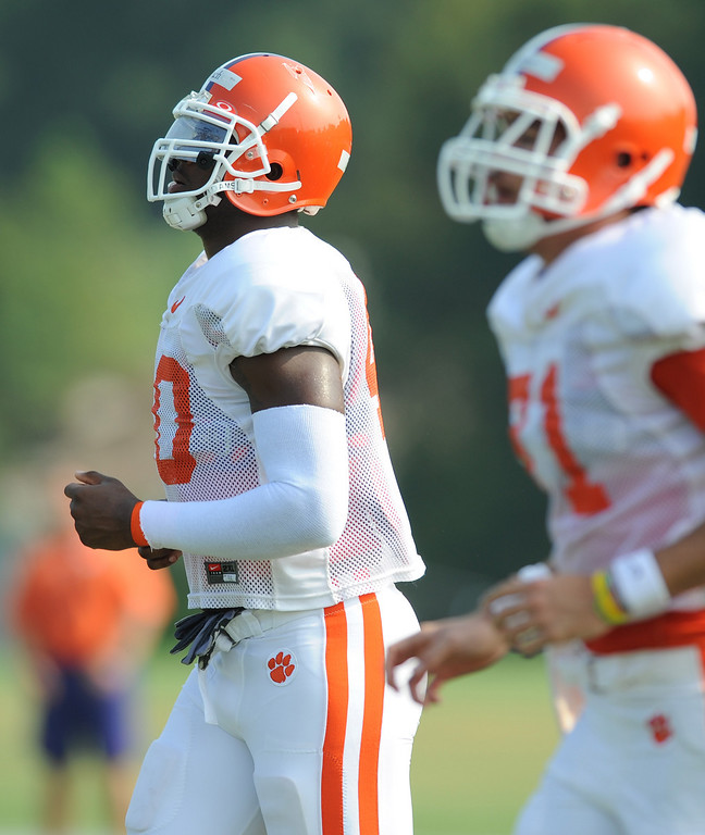 Clemson defensive end Andre Branch (40) during the teams practice Monday, August 9, 2010 at the teams practice field in Clemson. BART BOATWRIGHT/Staff