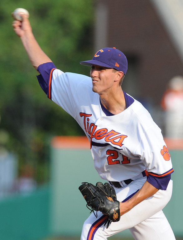 Clemson hosts Connecticut during an NCAA Regional baseball game Monday, June 6, 2011 at Clemson's Doug Kingsmore Stadium. BART BOATWRIGHT/Staff