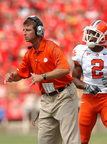 Clemson assistant coach Dabo Swinney coaches against Maryland Saturday, September 10, 2005 at Maryland's Byrd Stadium in College Park Maryland.