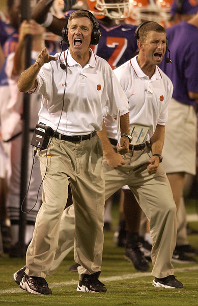 Clemson head coach Tommy Bowden, front, and assistant coach Dabo Swinney during the 3rd quarter against Georgia Tech Saturday, September 20, 2003 at Georgia Tech's Bobby Dodd Stadium in Atlanta, GA.